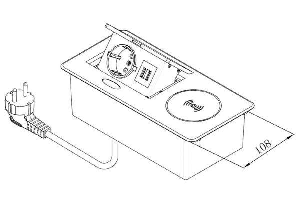 Блок розеток 1 гнездо, 2хUSB, беспроводная зарядка схема