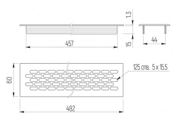 Вентиляционная решетка 60х484 схема